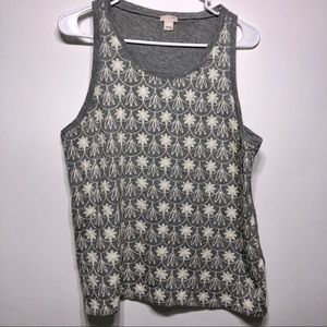 J. Crew Floral Embroidered Tank Top size large